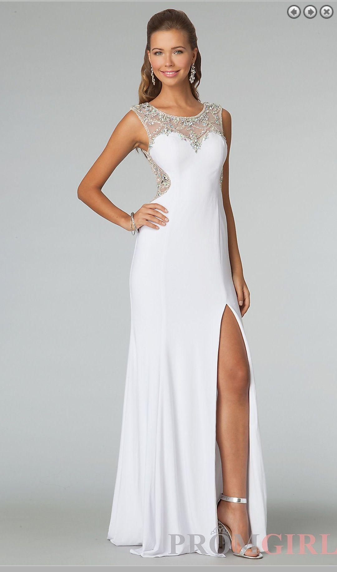 White cut out leg prom dress long
