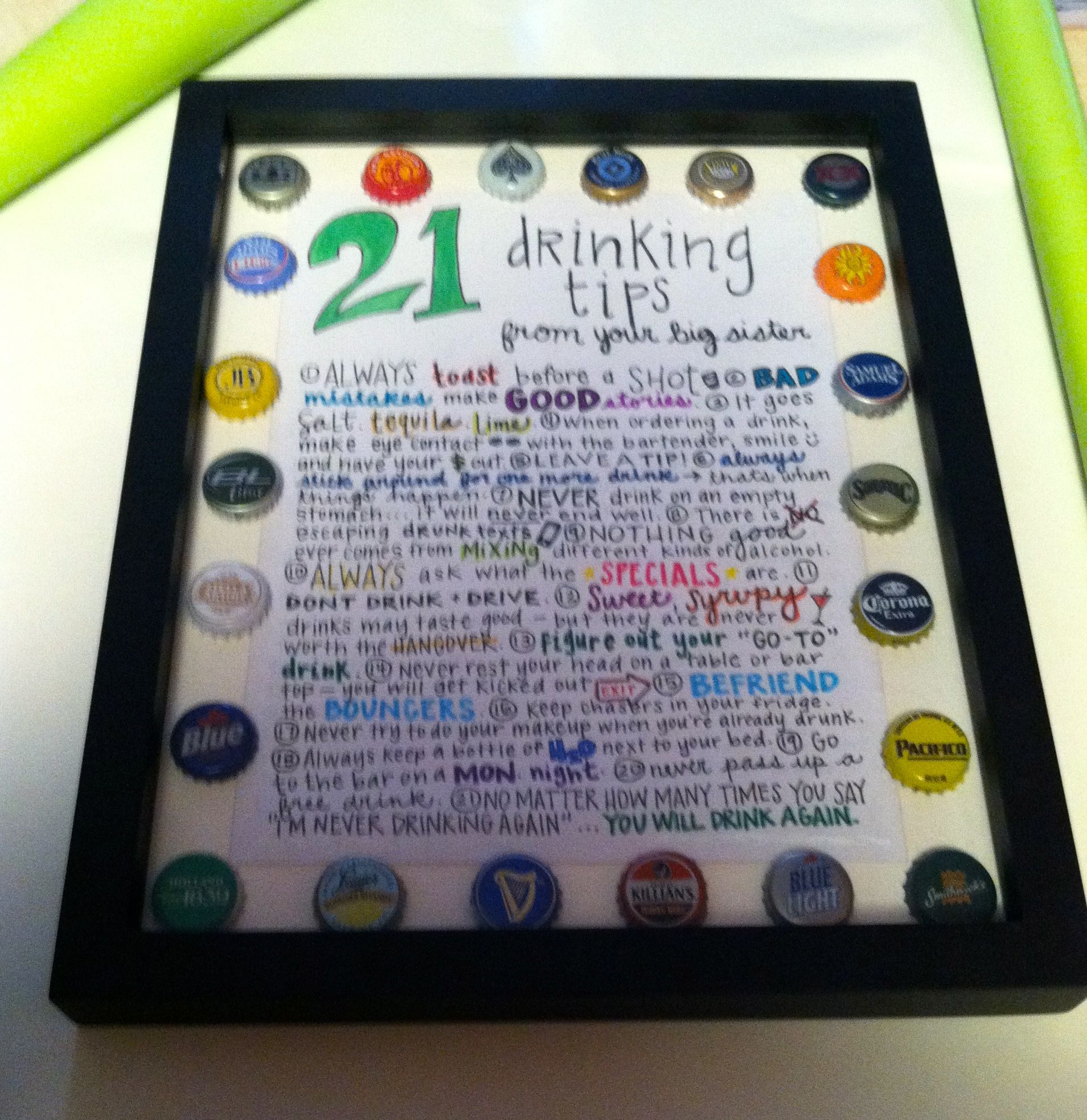21 Drinking Tips Gift For My Sisters 21st Birthday Handlettering DIY