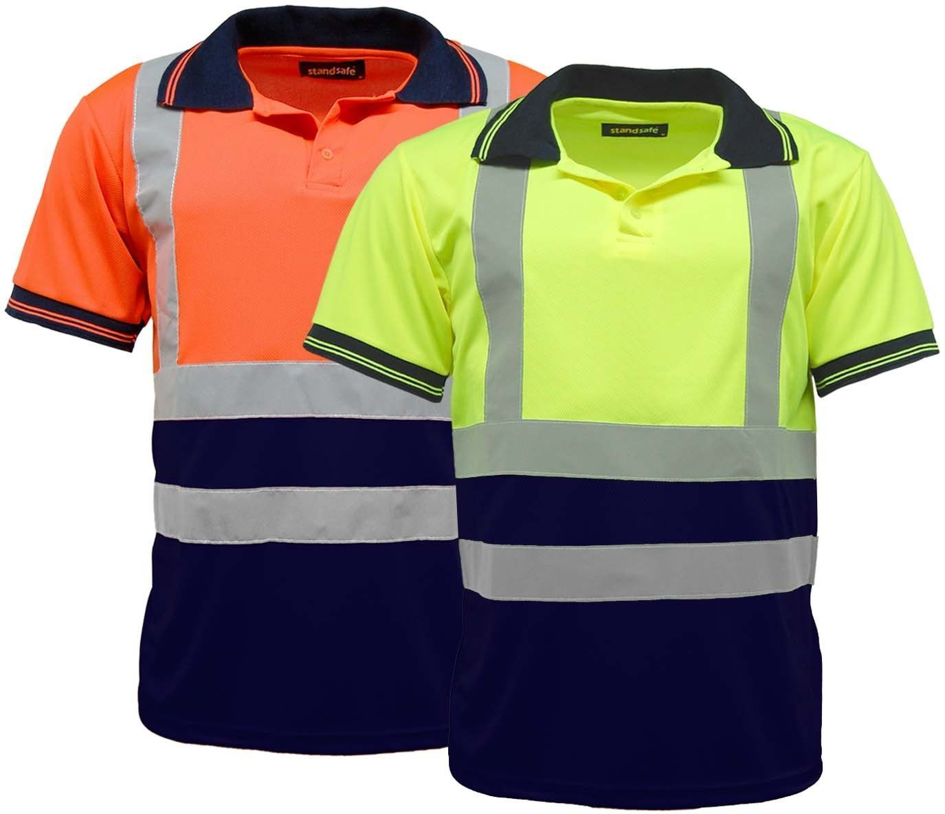 Hi vis high visibility two tone safety work polo shirt for Hi vis safety shirts