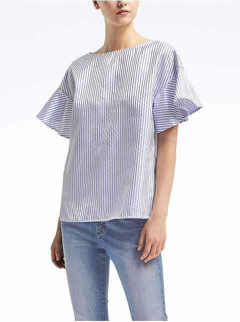 e7d36b077dd538 women:new arrivals|banana-republic Modern Outfits, Flutter Sleeve Top, Shirt