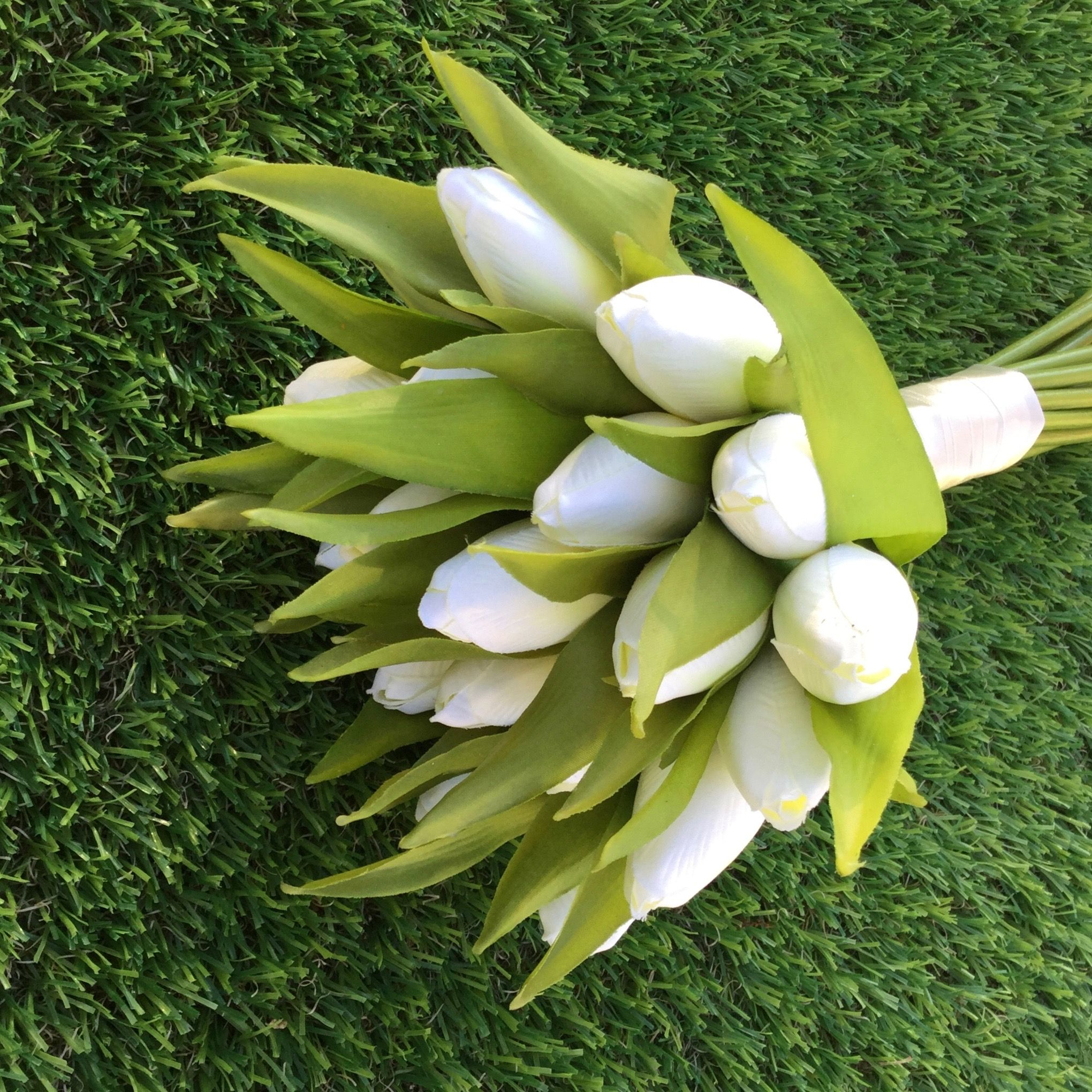 Classic wedding bouquet of artificial ivory tulips