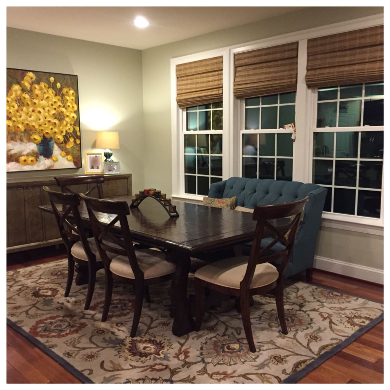 Best Benjamin Moore Gray Mirage North Facing Sunroom Teal Couch 640 x 480