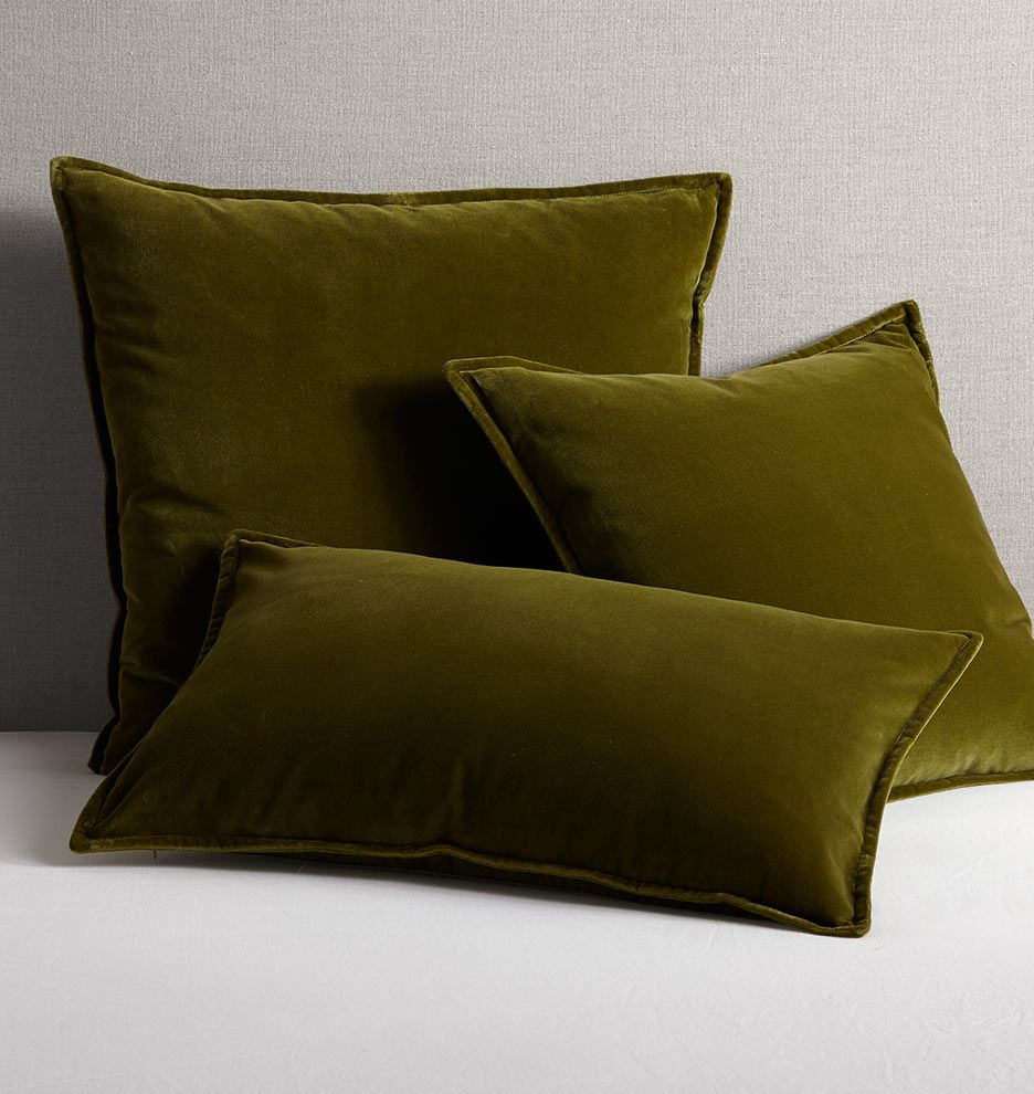 Italian Velvet Pillow Cover Olive Green 16in X 26in Green Velvet Pillow Olive Green Pillow Velvet Pillows