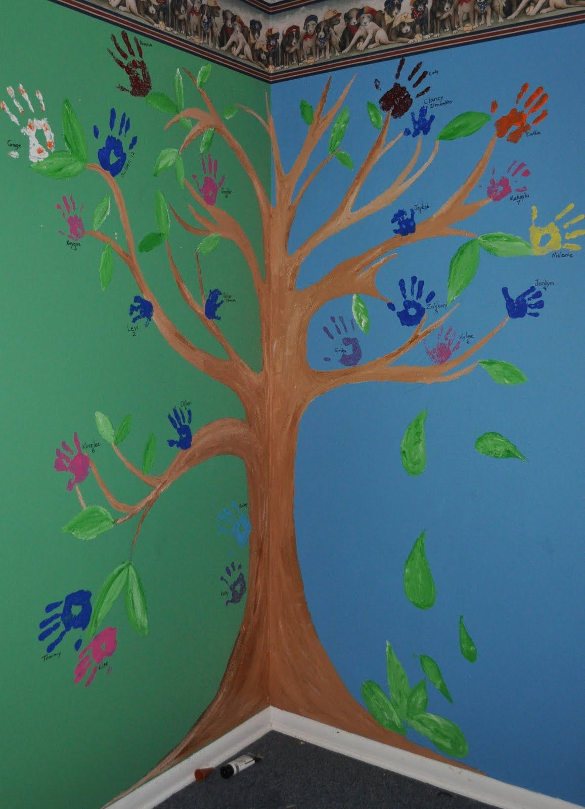 Sunday School Wall Murals Part   27: Handprint Leaves; Write What Each  Child Would Part 38