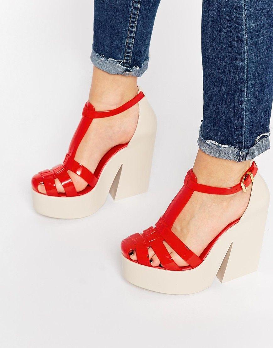 75bb0bfadd1 Melissa+Strips+Platform+Heeled+Sandals
