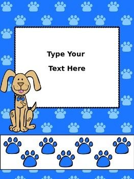 """Here are 4 colorful Dog Theme binder covers for you to use on your lesson plan binder or other subject binders.  You type in the title name and or year that you would like on your own binder cover.   *You can edit the words only on the binder cover where it says """"type text here"""". *You must have Power Point on your computer, and you must be able to save your final product as a PDF."""