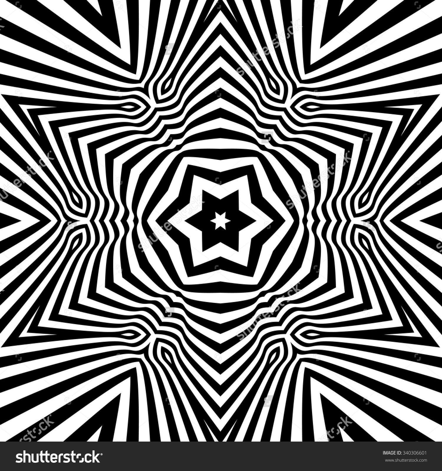 Black And White Abstract Striped Background Vector Illustration Mandalas Geometricas Periodo Geometrico Arte De La Ilusion Optica