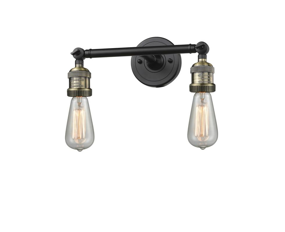 "Photo of Innovations Lighting 208-BBB Black / Brushed Brass 2 Light 11 ""Wide Bathroom Vanity Light"
