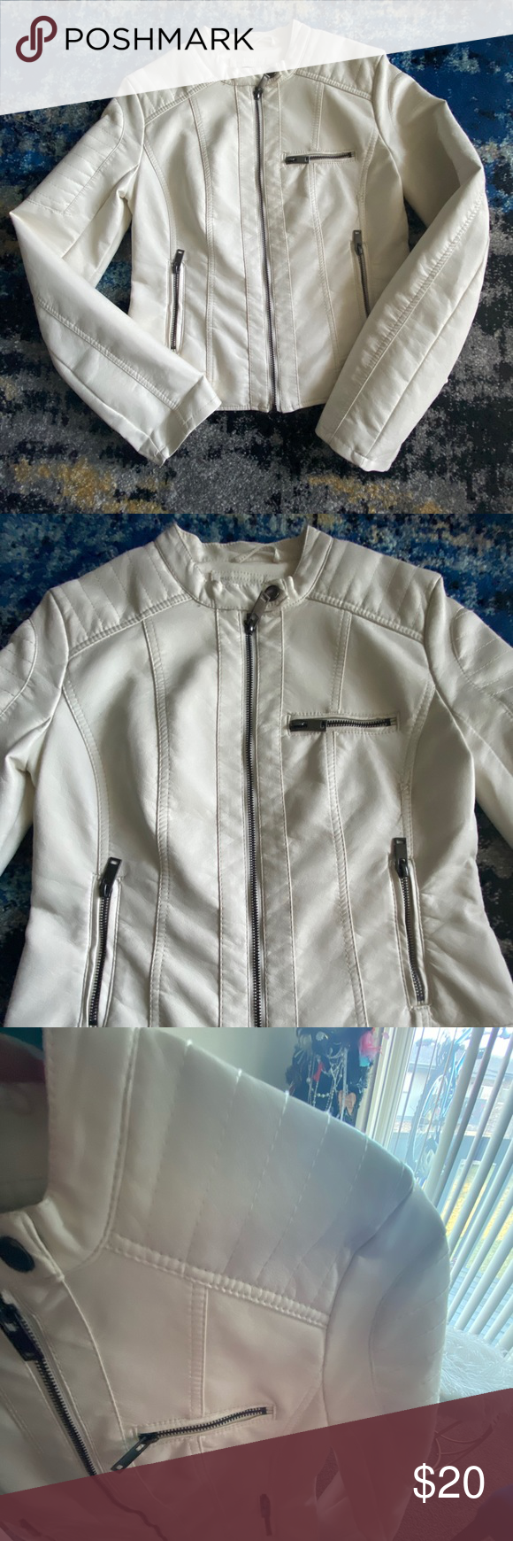 Moto Faux Leather Jacket Gently Worn Off White faux