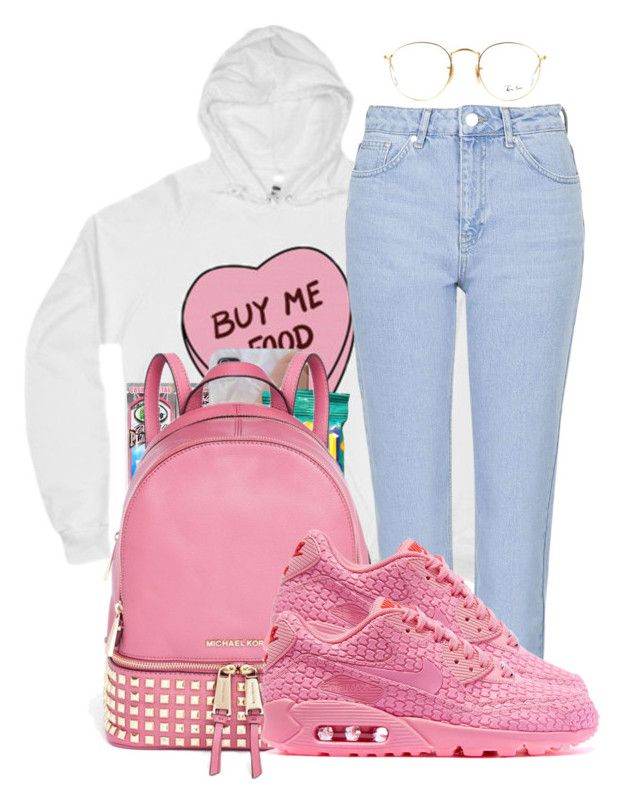 """""""Cliqued Up - PartyNextDoor"""" by bbypng ❤ liked on Polyvore featuring Topshop, Michael Kors, NIKE, Ray-Ban, Pink, DOPE and Street"""
