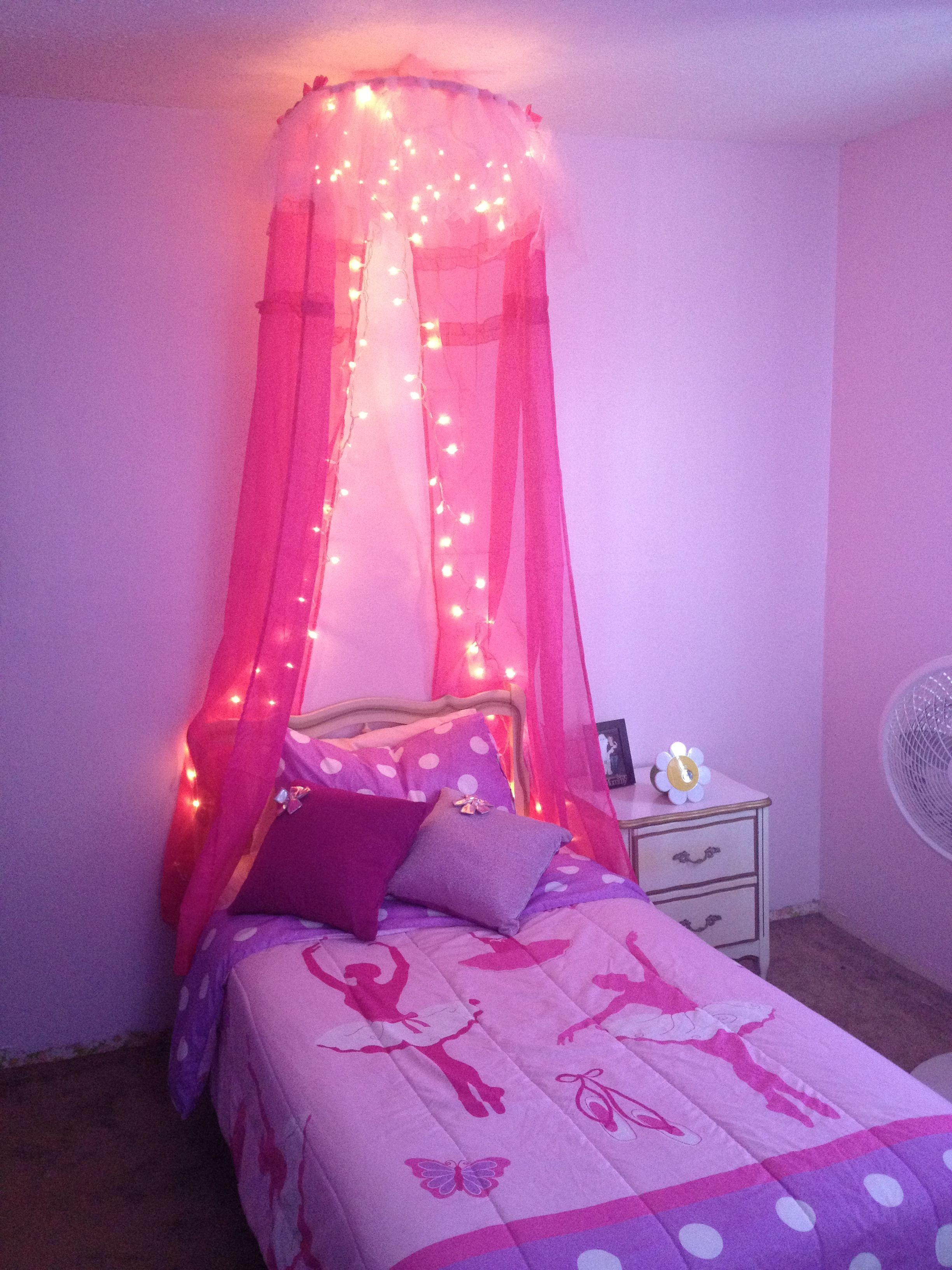 Bed Canopy Made From A Hula Hoop Tule And Dollar Store Curtains And Lights Love It So Does My Litt Little Girl Canopy Bed Girls Bed Canopy Girls Room Decor