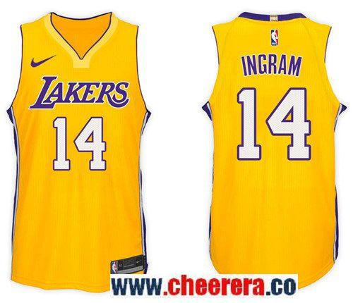 023dcc0ba197 Men s Nike NBA Los Angeles Lakers  14 Brandon Ingram Jersey 2017-18 New  Season Gold Jersey