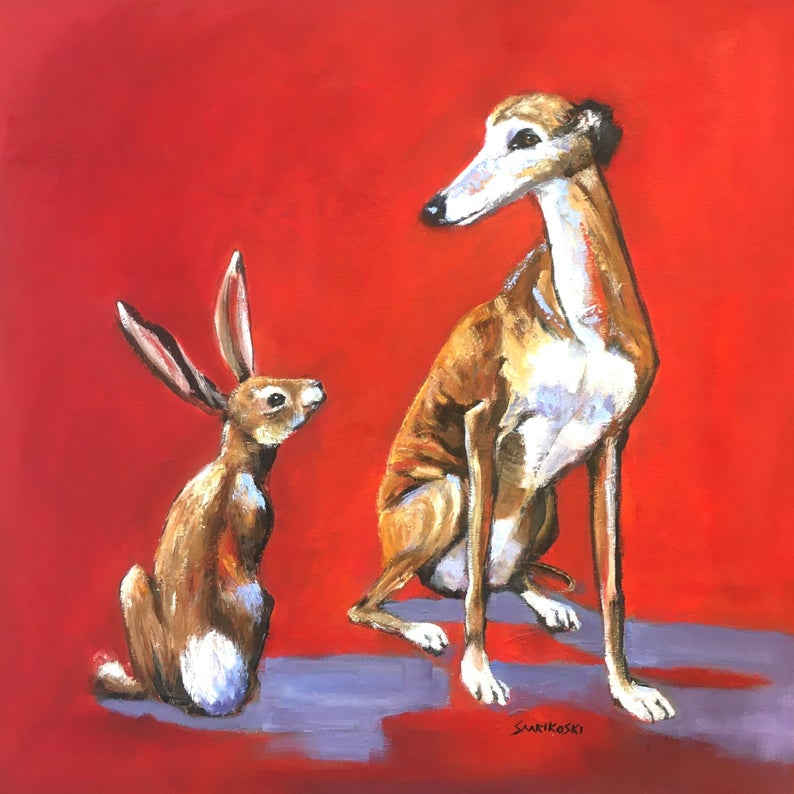 Hare And Greyhound Canvas Art Print Funny Contemporary Galgo Espanol Wall Art Sighthound Birthday Day Gift Whippet Home Decor Greyhound Art Painting Canvas Art Prints