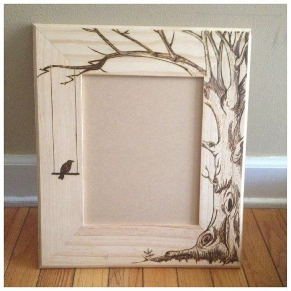 Wood burned picture frame do custom orders by KallyGrace3boutique