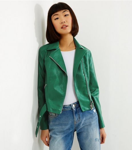 Green Belted Leather Look Cropped Biker Jacket New Look The
