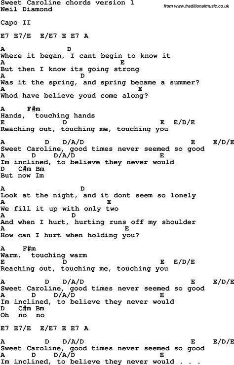 Song Lyrics With Guitar Chords For Sweet Caroline Easyguitarsongs