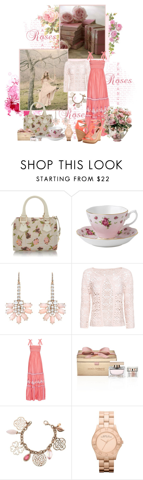"""""""Charming Pink Roses"""" by mrstom ❤ liked on Polyvore featuring SELINA, Fendi, Royal Doulton, Irene Neuwirth, MANGO, Alice by Temperley, Dolce&Gabbana, 1928, Marc by Marc Jacobs and 7 For All Mankind"""