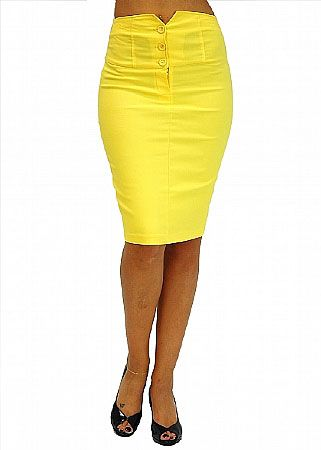 Yellow High Waisted Pencil Skirts | Cheap juniors Buttoned High ...