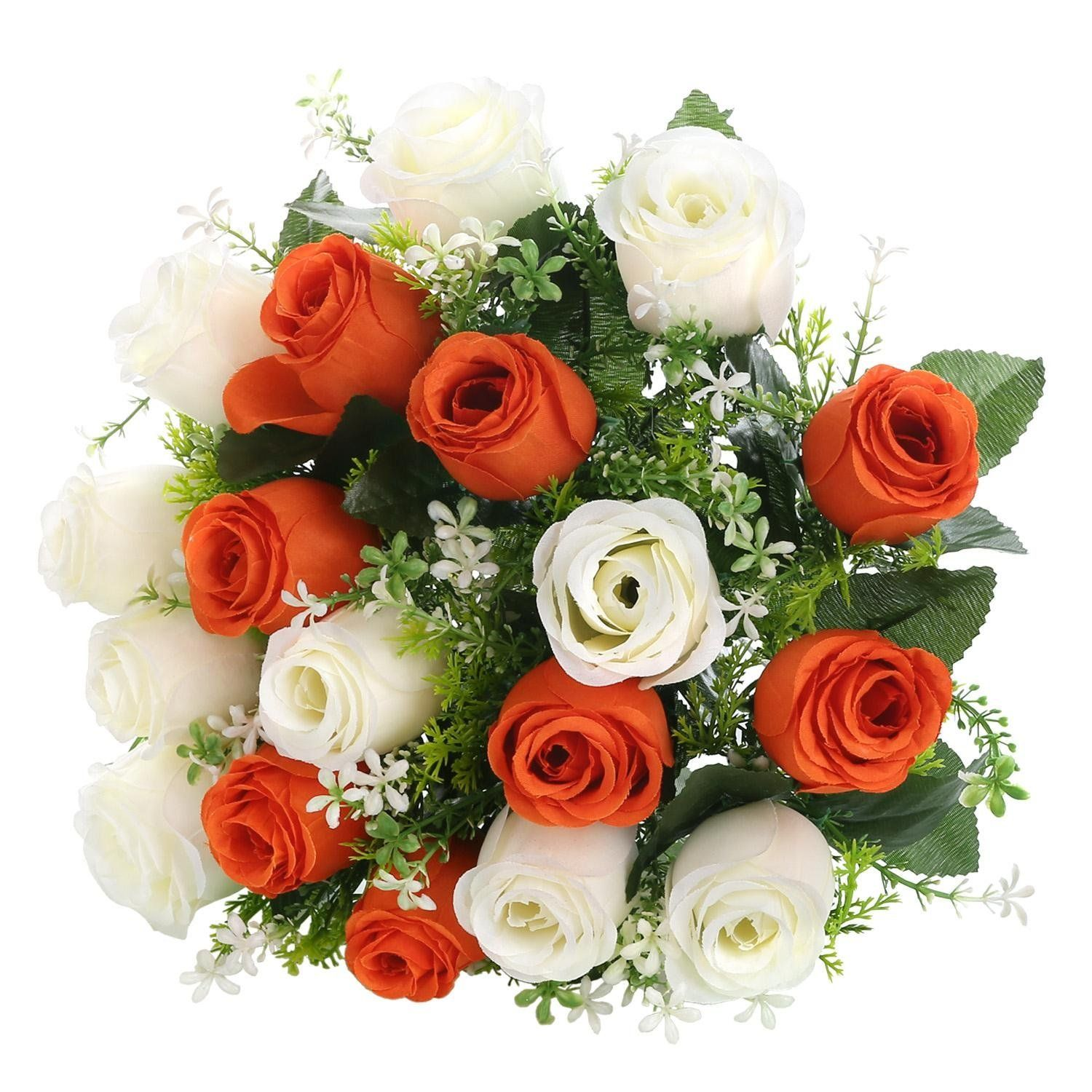 SOLEDI Artificial Flowers 18 Heads Mix Color Simulation Roses Bud ...