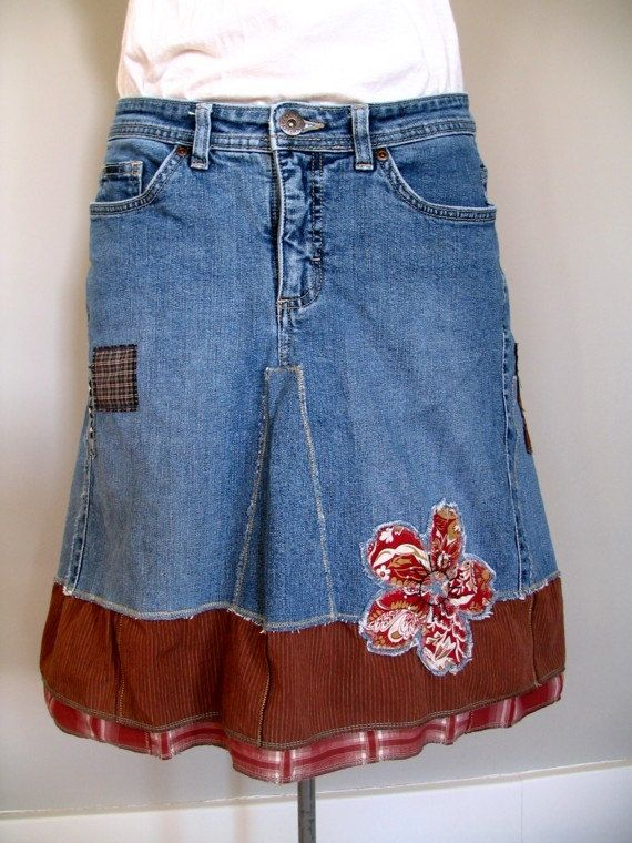 0a68a2125 denim patchwork converted jeans skirt, hand embroidered, artsy boho ooak upcycled  clothing, peasant prairie