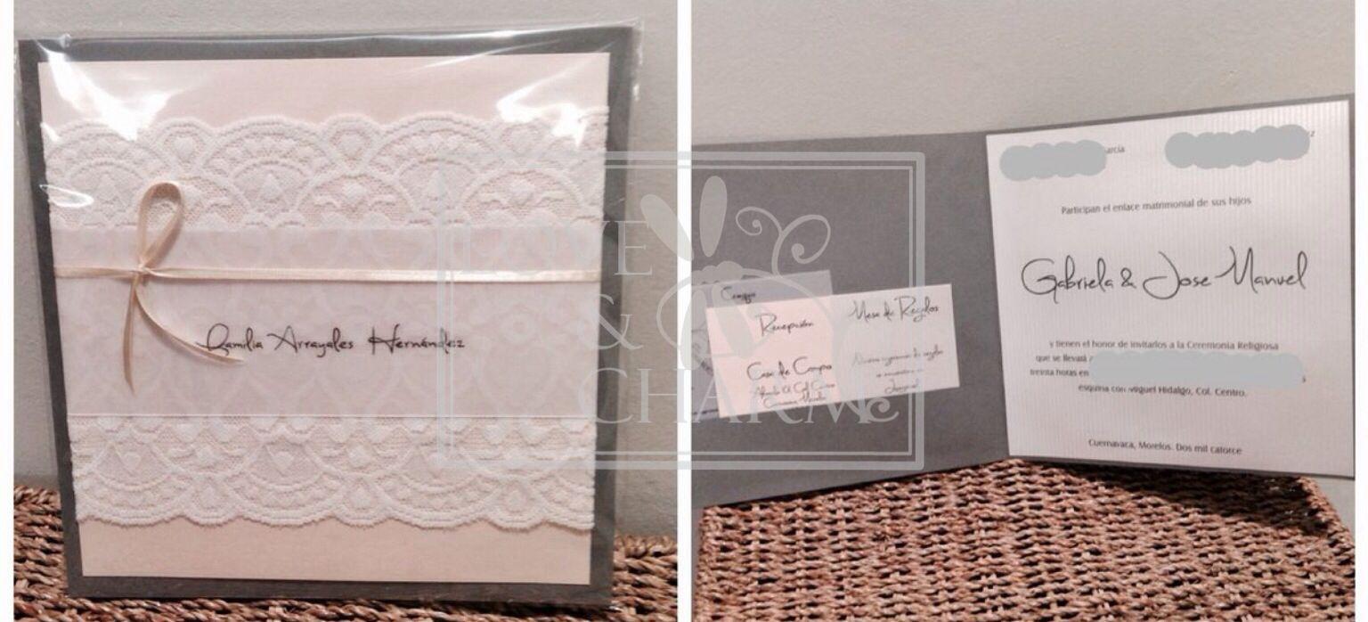 Wedding invitation pink and gray / invitación de boda rosa y gris Love & Charm