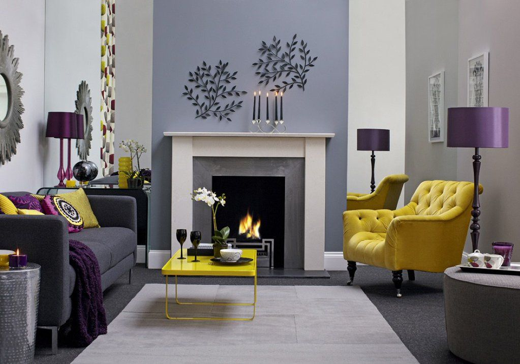 Grey Living Room  Purple and Ochre Living Room