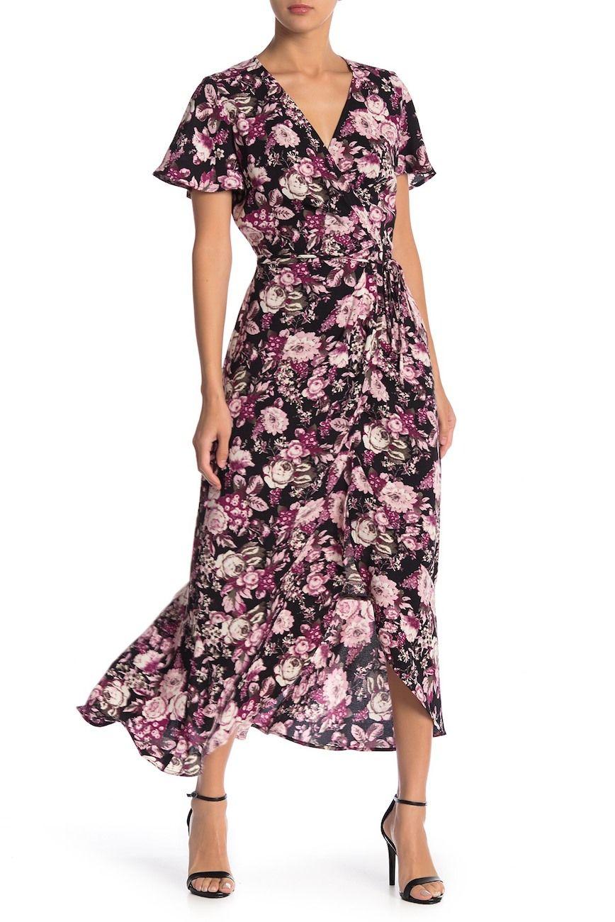 Free Press Patterned Short Sleeve Wrap Dress Nordstrom Rack Wrap Dress Wrap Dress Pattern Dresses [ 1300 x 868 Pixel ]