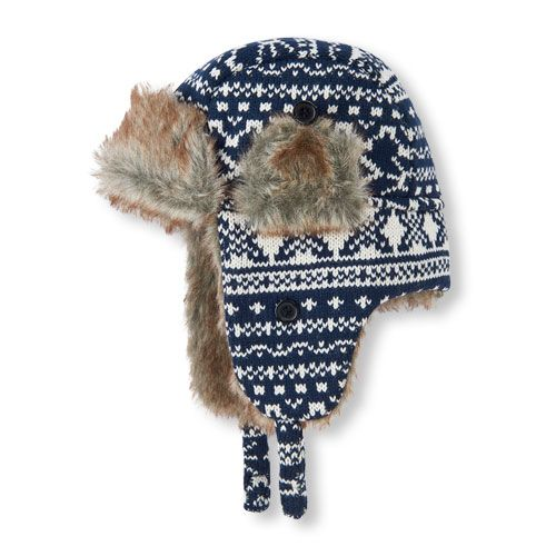Baby Boys Toddler Boys Fair Isle Intarsia Trapper Hat - Blue - The  Children s Place ff18f8fe502