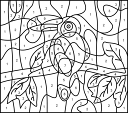 Toucan Printable Color By Number Page Hard Animal Coloring Pages Cute Coloring Pages Coloring Pages