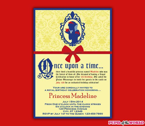 princess snow white birthday invitation / by unlimitedpartythemes, Birthday invitations