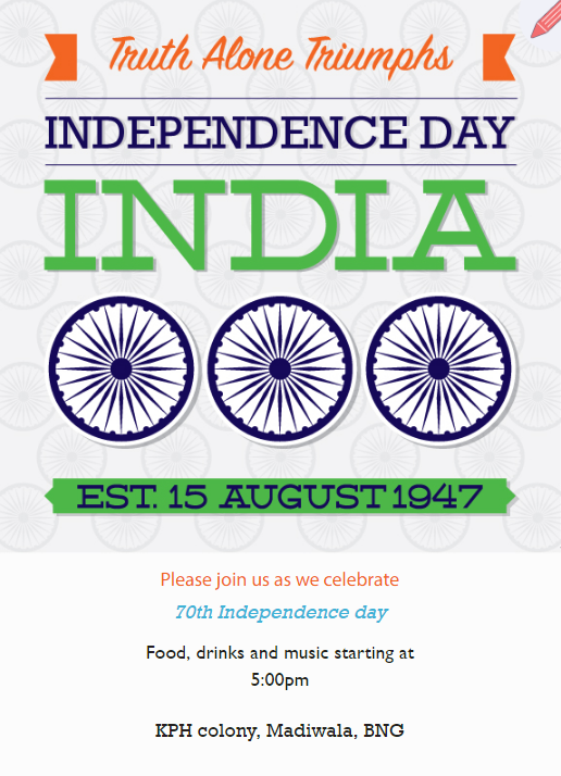 Celebrate 15th August Invitation Card Indian Independence Day Free