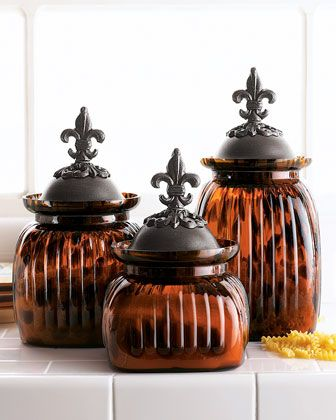 Superbe Tortoise Patterned Glass Canisters Bring Great Style To The Kitchen. Set  Includes And Canisters. Each Has A Metal Lid With Rustic Finish And Fleur  De Lis ...
