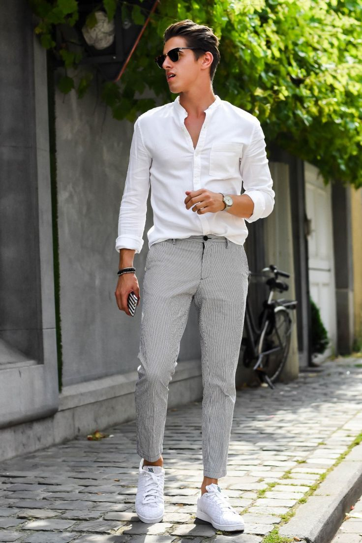 white shoes outfit male