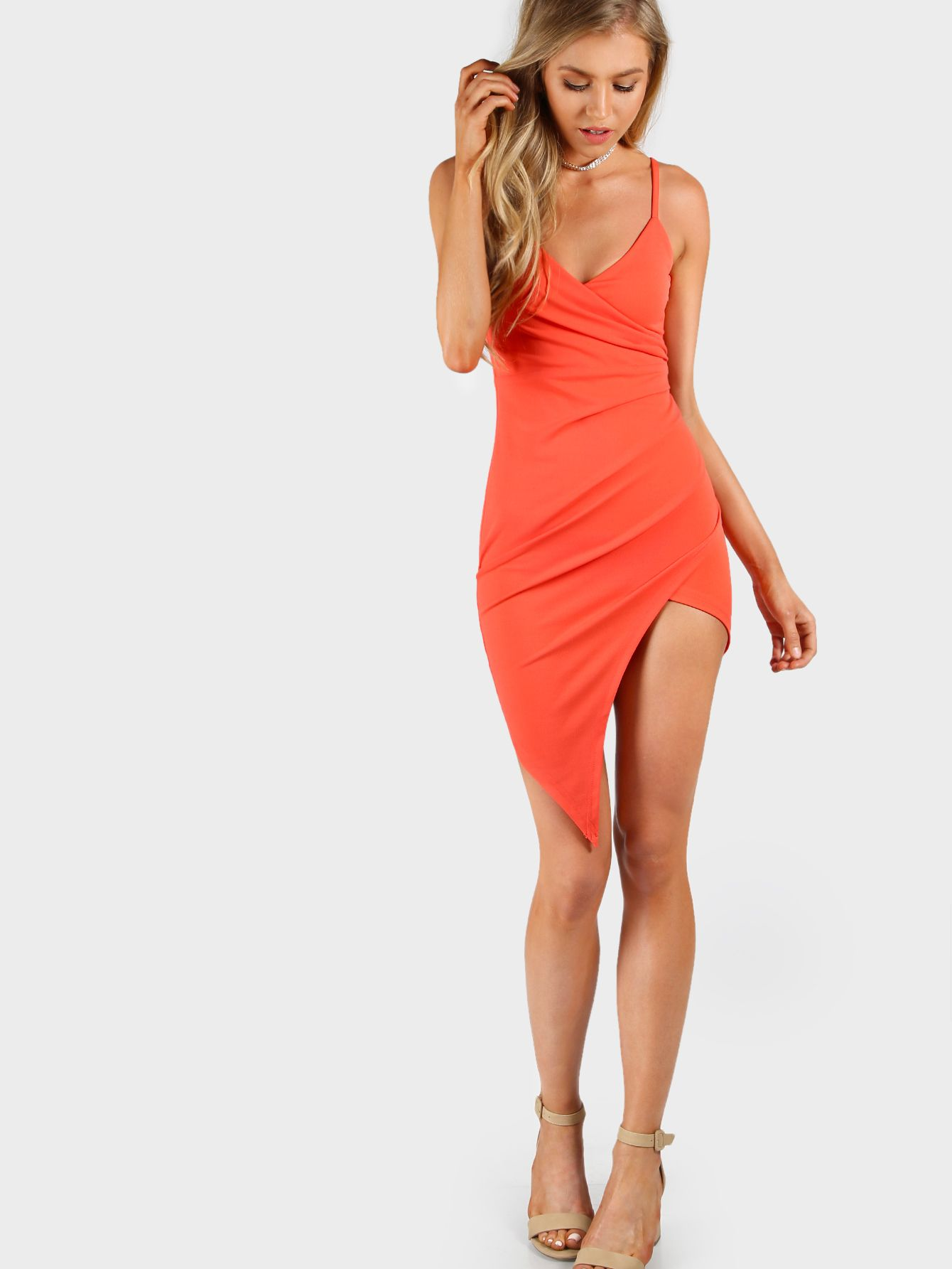 c041a7db5be6 Shop Asymmetrical Overlap Cami Bodycon Dress online. SheIn offers  Asymmetrical Overlap Cami Bodycon Dress & more to fit your fashionable  needs.