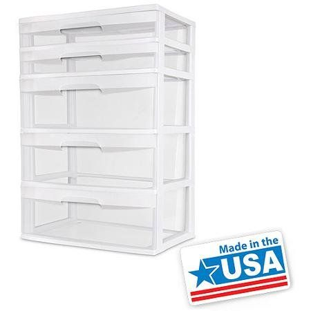 Sterilite 5 Drawer Wide Tower White Easy To Use Sterilite