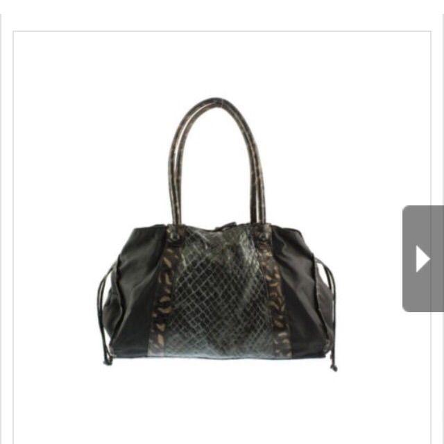 Carlo Falchi Turner Black Python Print Trim Bag