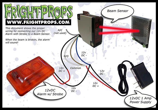 FrightProps Support & Training Center - Connect a 12VDC Device Directly to the FrightProps Beam Sensor