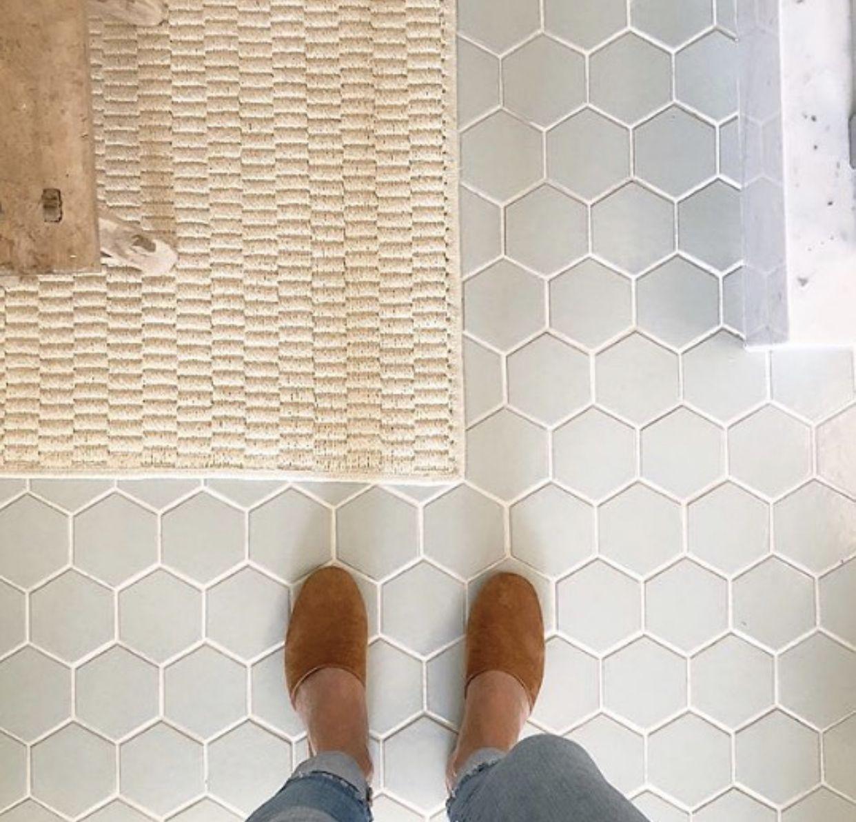 Pin By Anna Wade On Bathrooms Hexagon Tile Bathroom Floor Fireclay Tile Honeycomb Tiles Bathroom