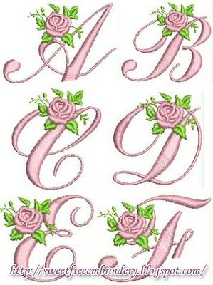 Sweet Free Embroidery: Roses Alphabet Free Embroidery | = Embroidery