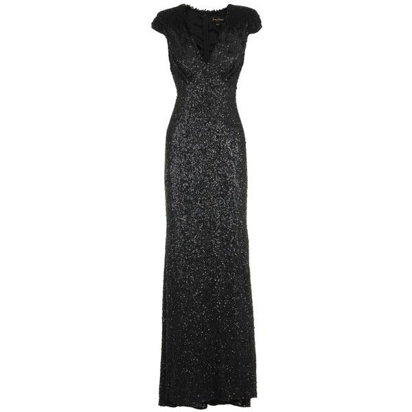 Jenny Packham Black Sequin Evening Gown 3180 Liked On