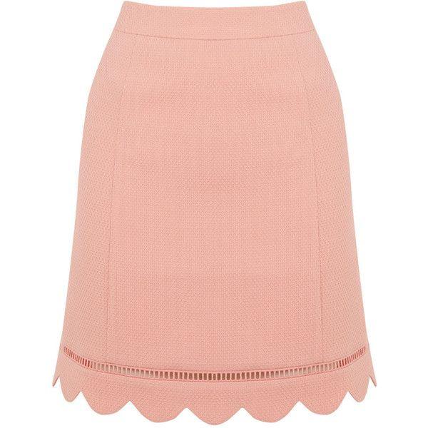 SCALLOP HEM SKIRT (€44) via Polyvore featuring skirts, red skirt, dressy skirts, summer skirts, scalloped skirt e fancy skirts