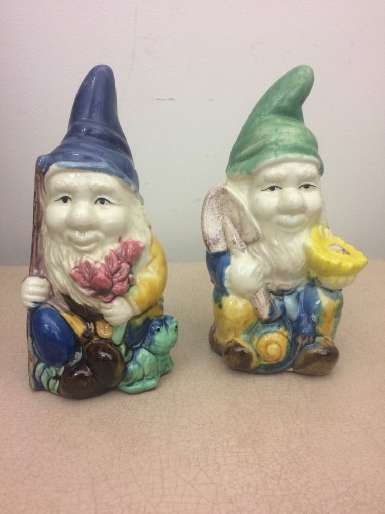 Vintage Handpainted Ceramic Garden Gnomes Set Of Two