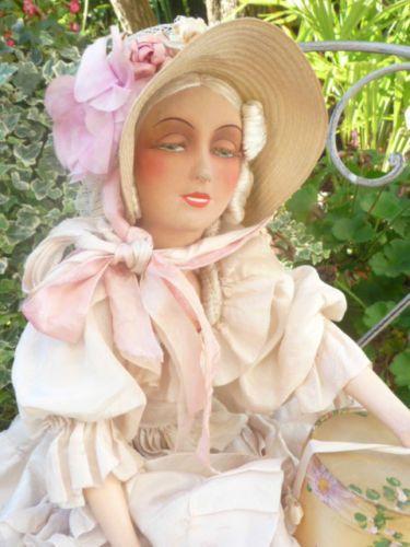 Antique French Boudoir Doll Smile Paris 1920 Silk Fashion Hat Box