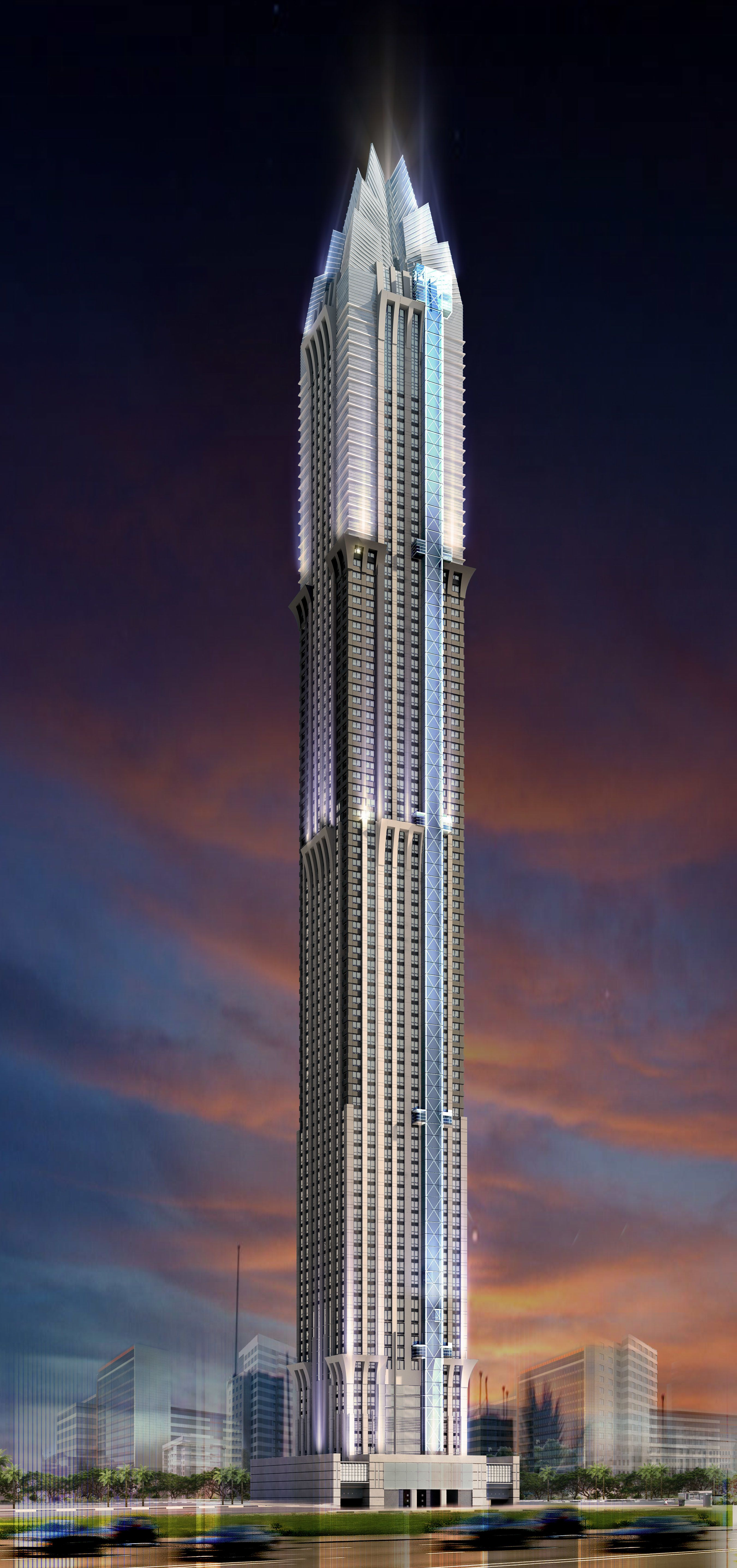 Devised by the Middle Eastern firm National Engineering Bureau, the Marina 101 will stand 1,399 feet above Dubai to become the world's tallest residential building. Read on for more of the world's tallest skyscrapers.