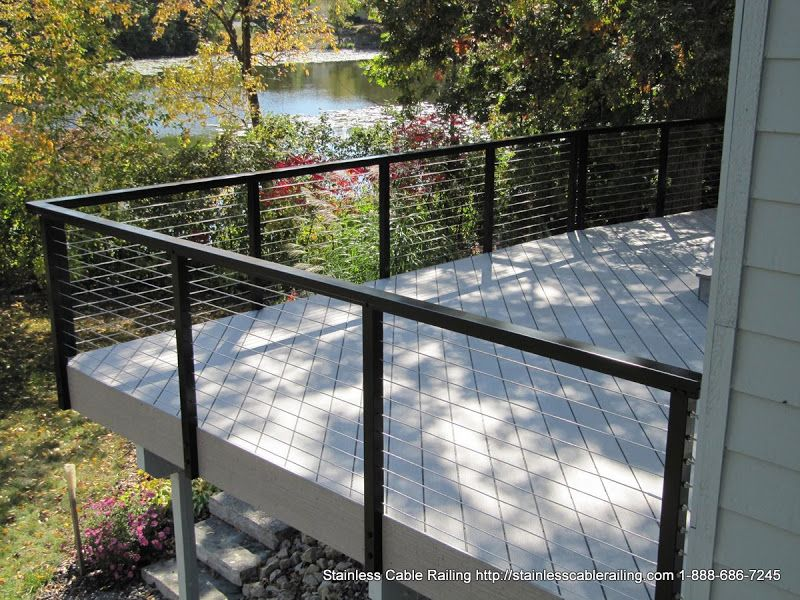 Amazing deck railing systems black by Stainless Cable Railing in ...