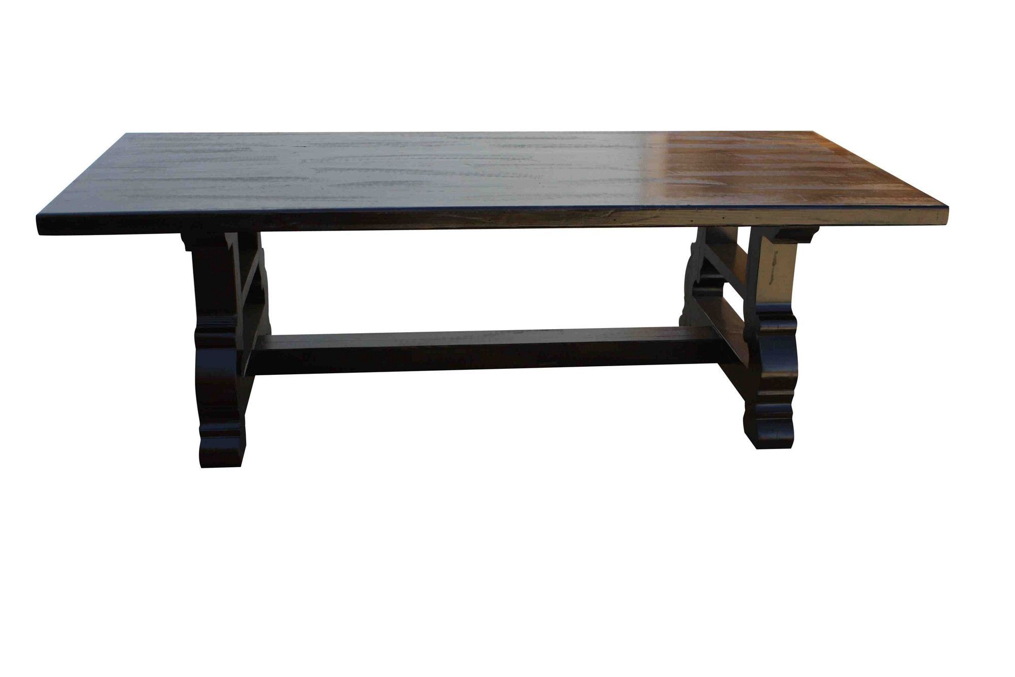 spanish trestle dining table in reclaimed wood trestle dining