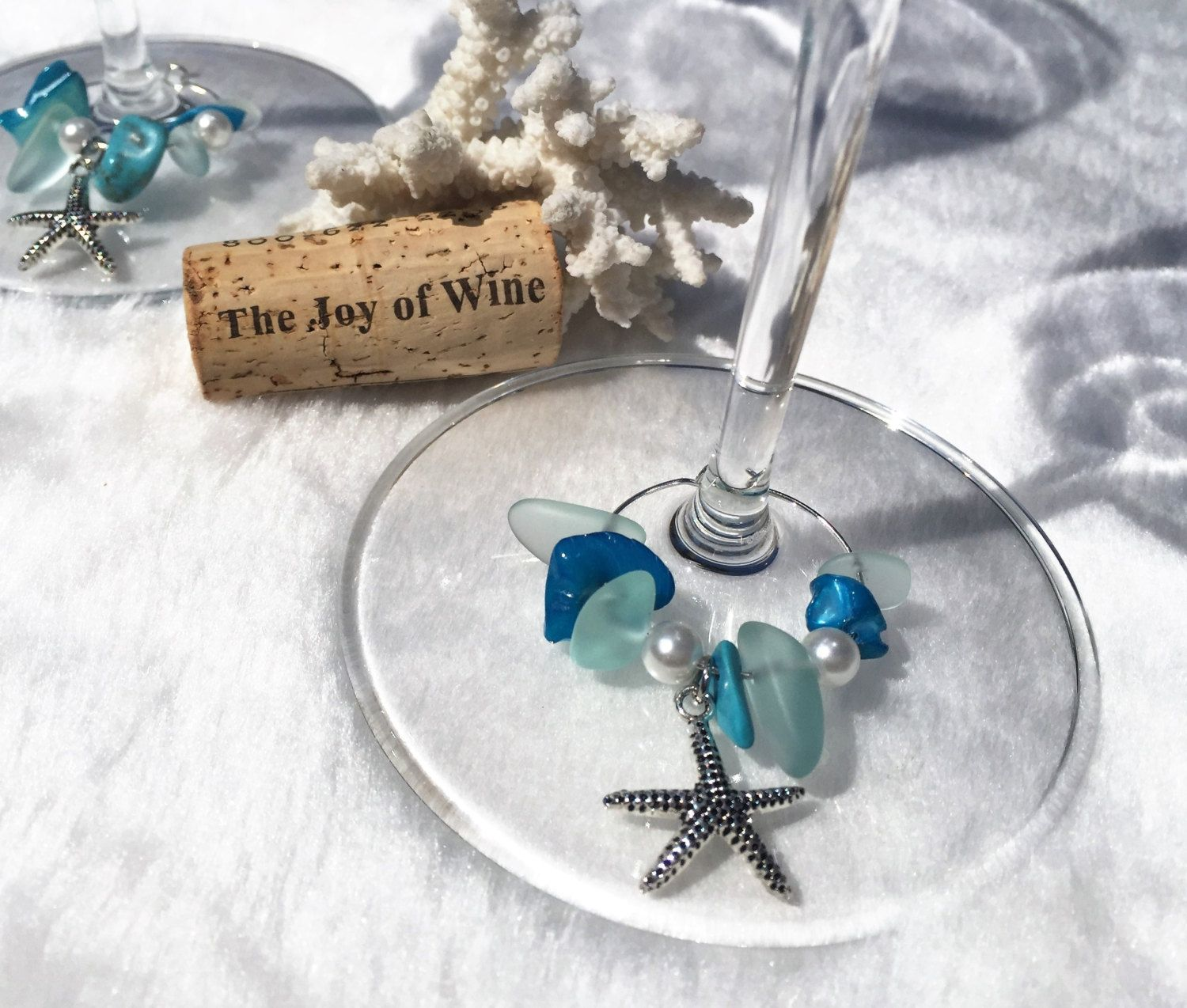 Beach Table Decor, Starfish Wine Glass Charm Sets, Beach Themed ...