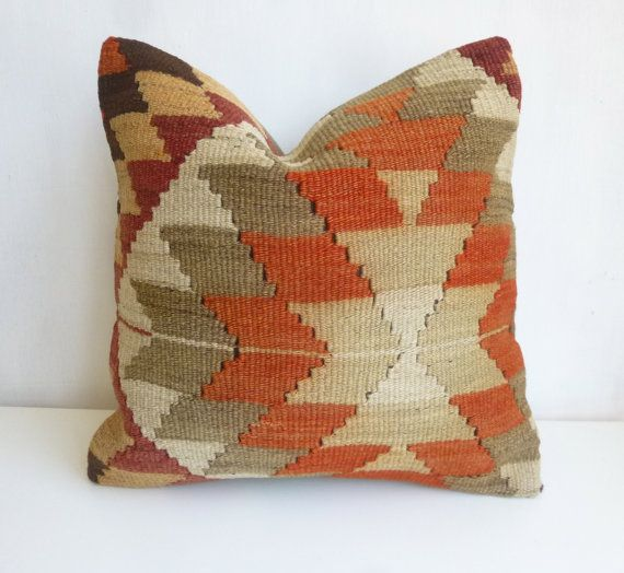 Cream Burnt orange and Khaki Kilim Throw Pillow by SophiesBazaar