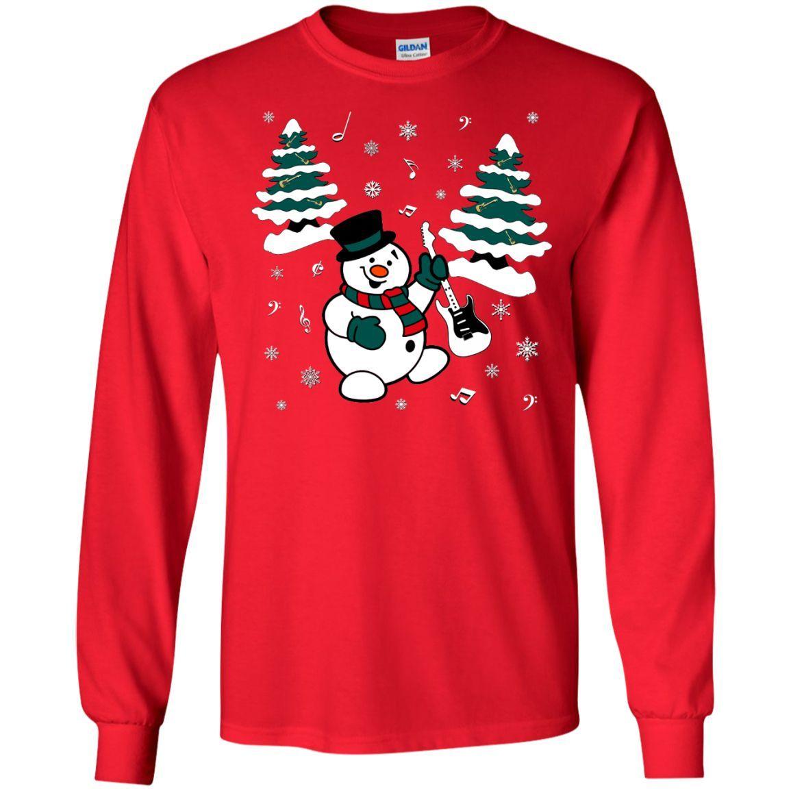 Snowman With Electric Guitar Long Sleeve/Sweatshirt