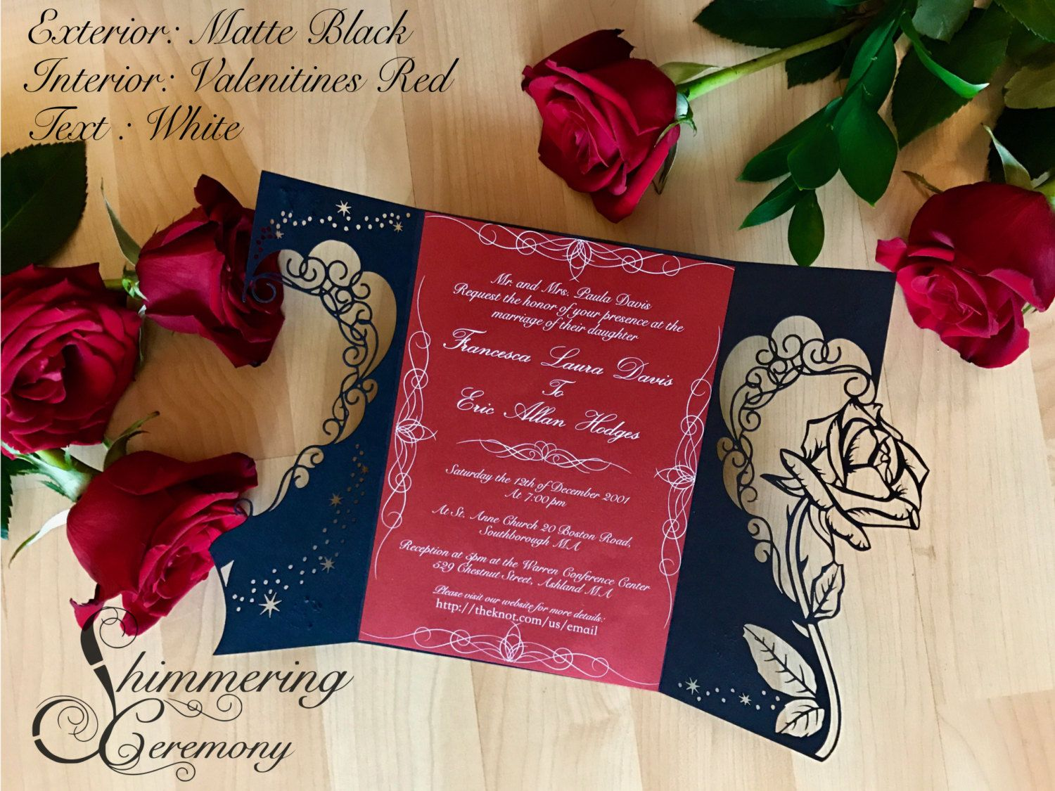 Beauty and the beast inspired rose gatefold laser cut | Ideas para ...